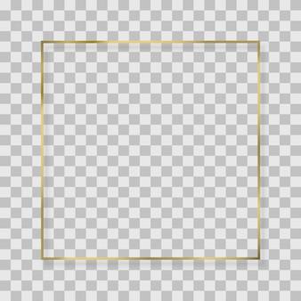 Złoty kwadrat, okrągła, owalna rama z efektami świetlnymi.