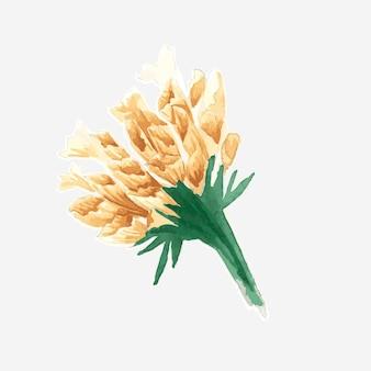 Złoty kwiat bukiet wektor akwarela dekoracyjna naklejka
