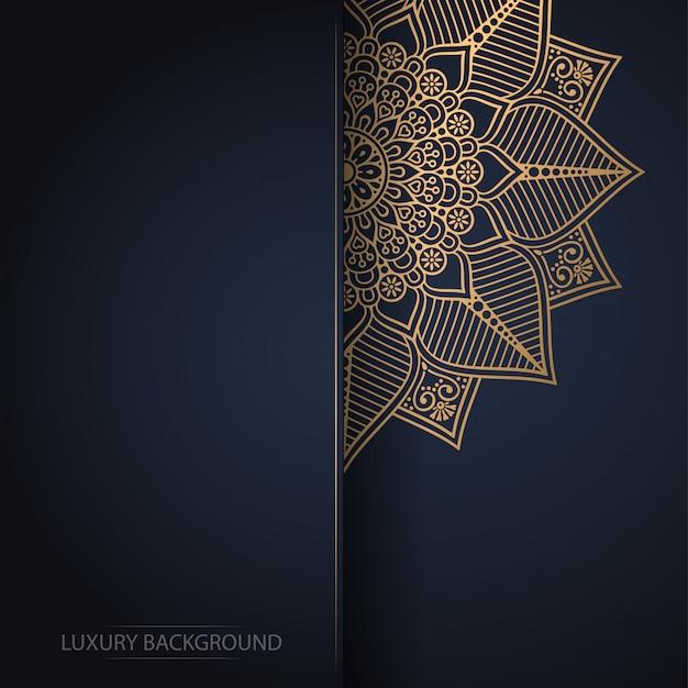 Złoty kwiat mandali na ciemnym tle