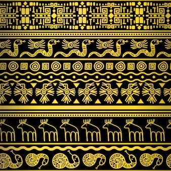 Złoty kwiatowy i zwierząt afrykański wzór