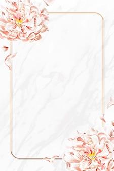 Złoty kwiatowy piwonia wektor ramki