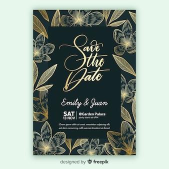 Złoty kwiatowy szablon zaproszenia ślubne