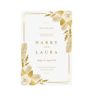 Złoty kwiatowy szablon zaproszenia ślubnego