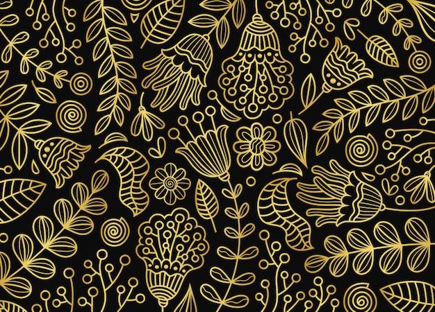 Złoty kwiatowy wzór botaniczny tło