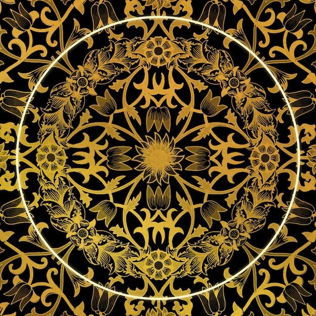 Złoty kwiatowy wzór remiksu z grafiki autorstwa williama morrisa
