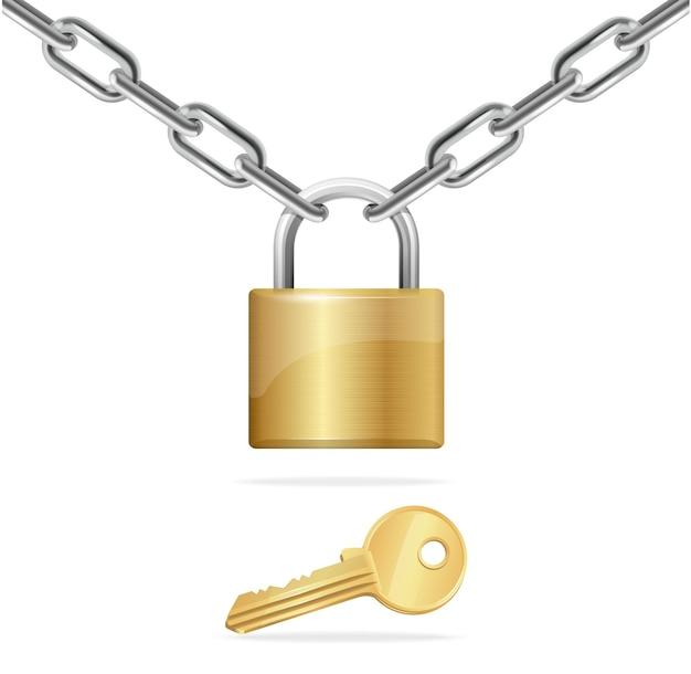 Złoty łańcuch, kłódka i klucz na białym tle.