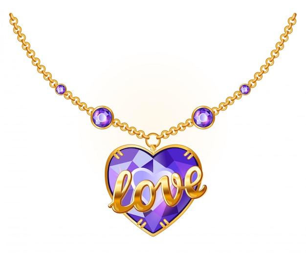 Złoty łańcuszek z dodatkiem biżuterii. wisiorek z kamieni szlachetnych ze złotym napisem love. wektor złoty naszyjnik na białym tle.
