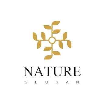 Złoty liść ozdoba logo