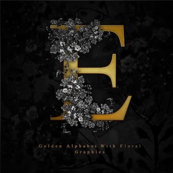 Złoty litera e akwarela kwiatowy tło