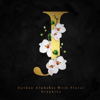 Złoty litera j akwarela kwiatowy tło