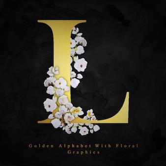 Złoty litera l akwarela kwiatowy tło