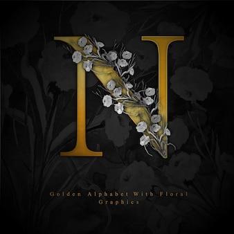 Złoty litera n akwarela kwiatowy tło