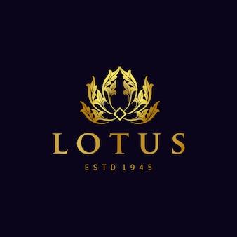 Złoty lotos logo kwiaty wektor