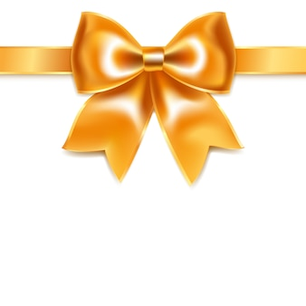 Złoty łuk z jedwabnej wstążki, na białym tle