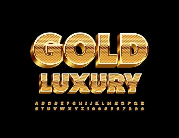 Złoty luksusowy alfabet 3d premium błyszcząca czcionka teksturowany luksusowy zestaw liter i cyfr