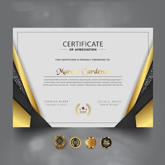 Złoty luksusowy certyfikat szablonu osiągnięć