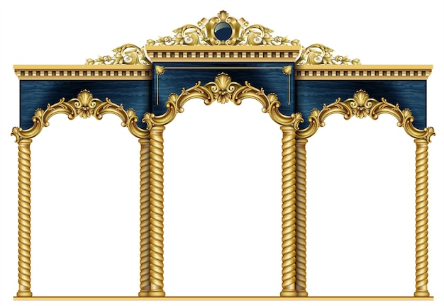 Złoty luksusowy klasyczny łuk z kolumnami.