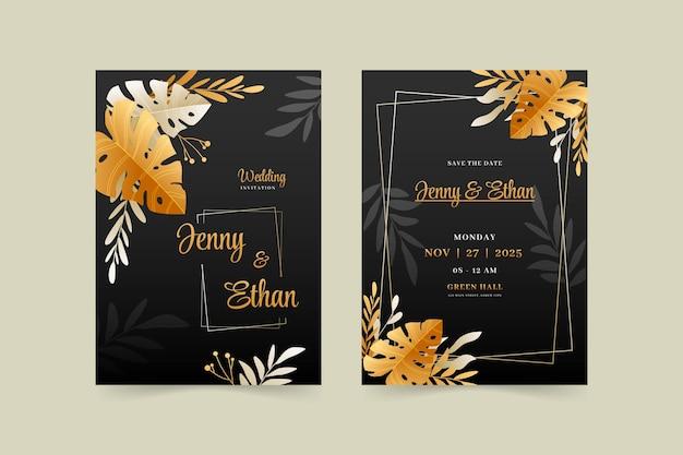 Złoty luksusowy realistyczny szablon zaproszenia ślubnego