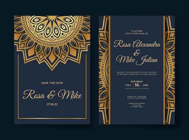 Złoty luksusowy szablon zaproszenia ślubne z ornamentem dekoracji mandali
