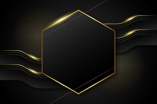 Złoty luksusowy sześciokątny kształt tła