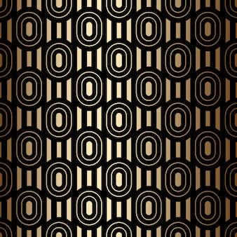 Złoty luksusowy wzór bez szwu z owalami i paskami, czarno-złote kolory w stylu art deco