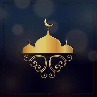 Złoty meczet z kwiatowym dekoracji na festiwalu eid