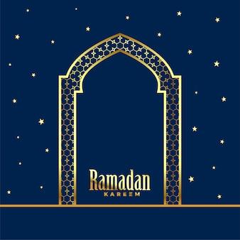 Złoty meczetowy drzwiowy ramadan kareem tło