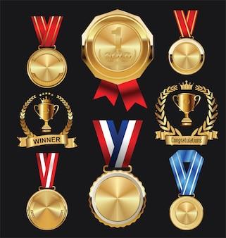Złoty medal mistrza z czerwoną i niebieską wstążką ikona znak pierwsze miejsce
