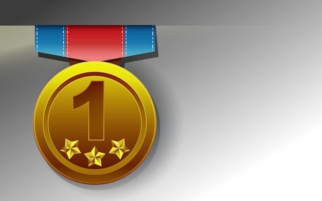 Złoty medal na białym tle.