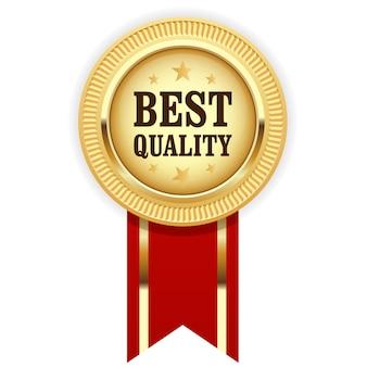 Złoty medal najlepsza jakość z czerwoną wstążką