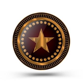 Złoty medal w stylu odznaki szeryfa na białym tle