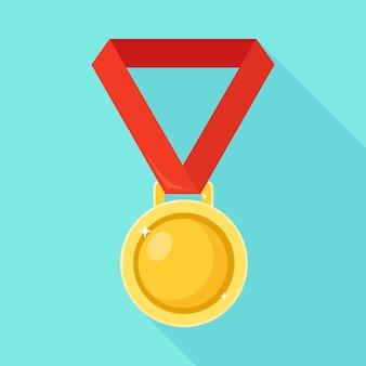 Złoty medal z czerwoną wstążką za pierwsze miejsce. trofeum, zwycięzca nagroda na białym tle na tle. ikona złotej odznaka. sport, osiągnięcia biznesowe, koncepcja zwycięstwa. ilustracja. projekt płaski
