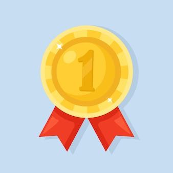 Złoty medal z czerwoną wstążką za pierwsze miejsce. trofeum, zwycięzca nagroda na białym tle na tle.