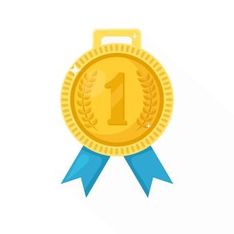 Złoty medal z niebieską wstążką za pierwsze miejsce. trofeum, nagroda zwycięzcy w tle. ikona złotej odznaka. sport, osiągnięcia biznesowe, zwycięstwo. ilustracja.