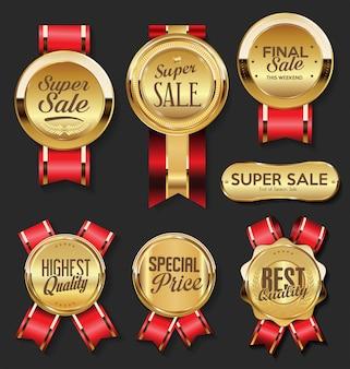 Złoty medal z super wyprzedażową kolekcją czerwonych wstążek