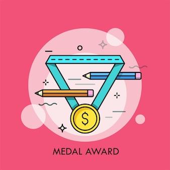 Złoty medal z symbolem dolara i parę ołówków.