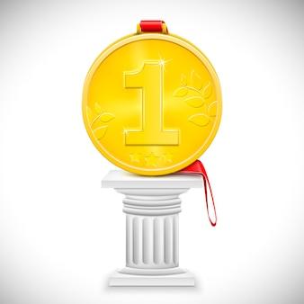 Złoty medal z wstążką na kolumnie