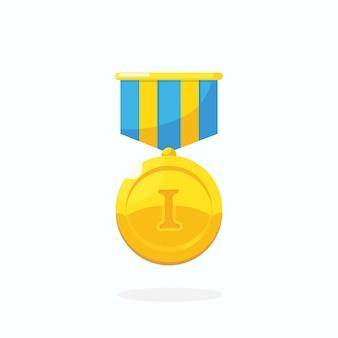 Złoty medal za pierwsze miejsce. trofeum, nagroda, nagroda dla zwycięzcy na białym tle. złota odznaka ze wstążką. osiągnięcie, zwycięstwo, sukces. ilustracja kreskówka wektor płaska konstrukcja