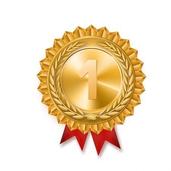 Złoty medal. złoty znak 1. miejsca. czerwona wstążka. odosobniony. gałązka oliwna. ilustracja wektorowa
