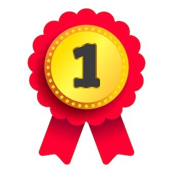 Złoty medal znak jakości z czerwoną wstążką na białym tle dla twojego projektu. wektor