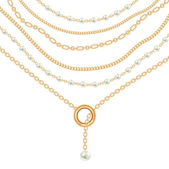 Złoty metaliczny naszyjnik z pereł i łańcuszków
