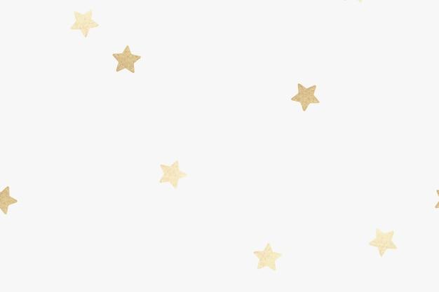Złoty metaliczny wzór gwiazdek na białej tapecie