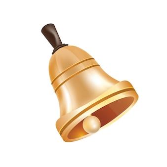Złoty metalowy dzwon na białym tle. ilustracja wektorowa.