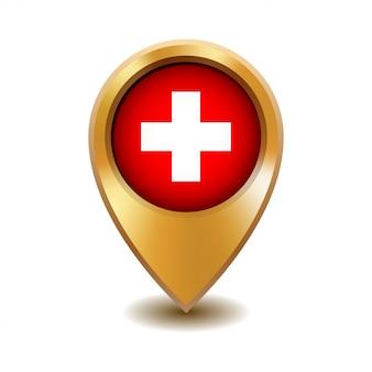 Złoty metalowy wskaźnik mapę z flagą szwajcarii