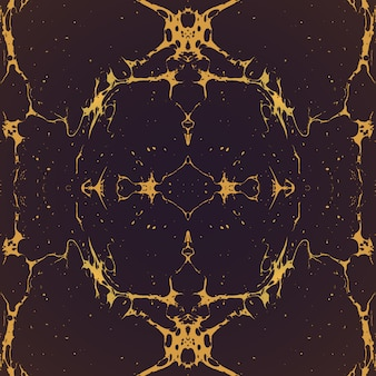 Złoty monochromatyczny lustrzany ręcznie rysowane ebru papier marmurkowy płynna farba grafika dekoracja tekstura tło