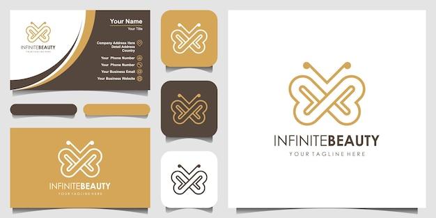 Złoty motyl linia sztuki monogram kształt logo uroda luksusowy styl spa