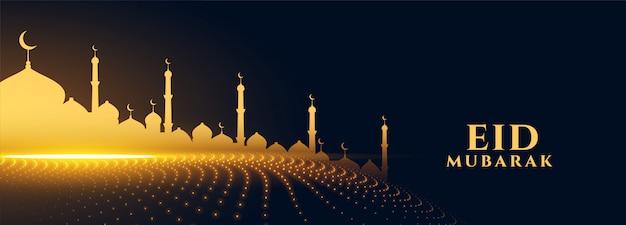 Złoty musujący meczet na banner festiwalu eid