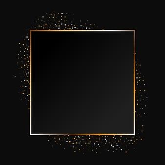 Złoty musujący pierścionek ze złotym brokatem na czarnym tle