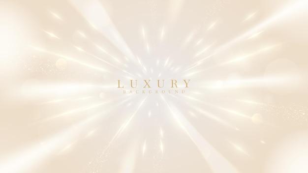 Złoty neon efekty świetlne tło, luksusowe tło koncepcja stylu 3d. ilustracji wektorowych.