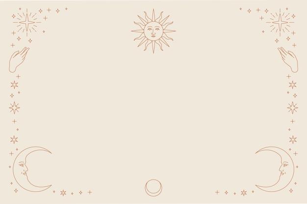 Złoty niebiański wektor słońce i półksiężyc monoliniowy tło na beżowym